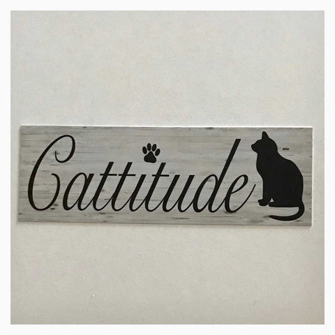 Cattitude Cats Cat Sign Wall Plaque Or Hanging - The Renmy Store