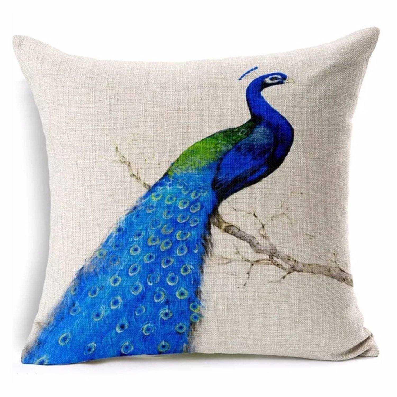 Cushion Pillow Peacock Blue & Green Bird - The Renmy Store