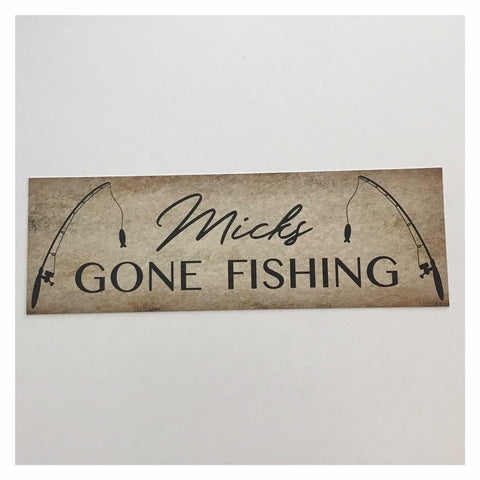 Gone Fishing with Your Name Custom Sign Wall Plaque or Hanging - The Renmy Store