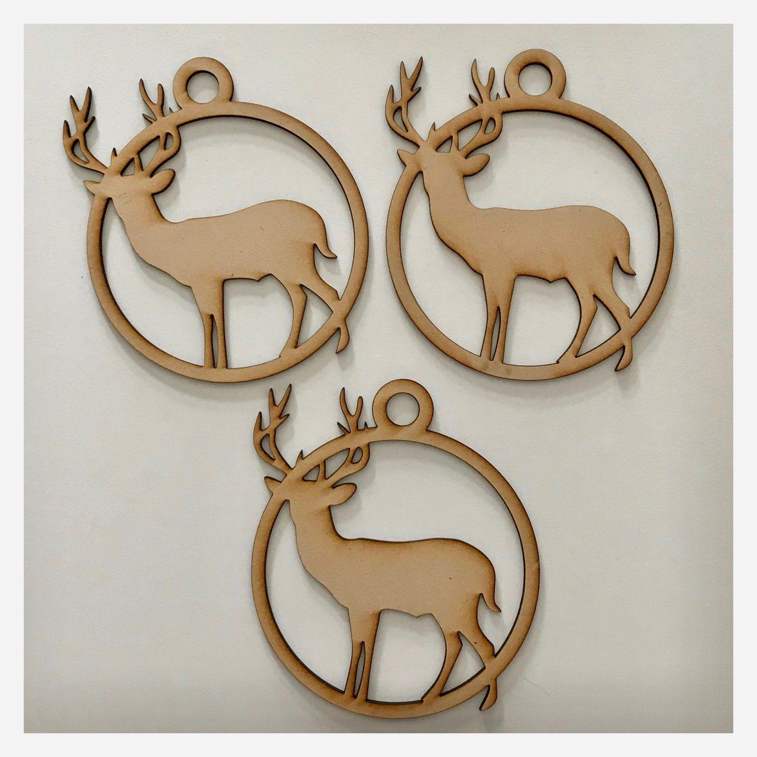 Stag Deer Hanging Decoration Set of 3 Plain DIY Raw MDF Timber