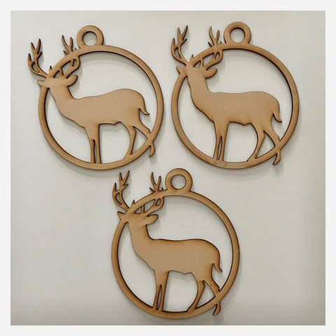 Stag Deer Hanging Decoration Set of 3 Plain DIY Raw MDF Timber - The Renmy Store
