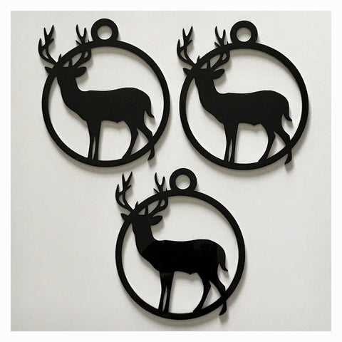 Stag Deer Decoration Hanging Set Of 3 Black Plastic Acrylic Country Decor Garden - The Renmy Store