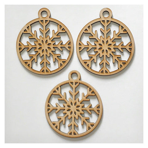Snowflake Star Christmas Hanging Decoration Set of 3 Plain DIY Raw MDF Timber - Design 2 - The Renmy Store