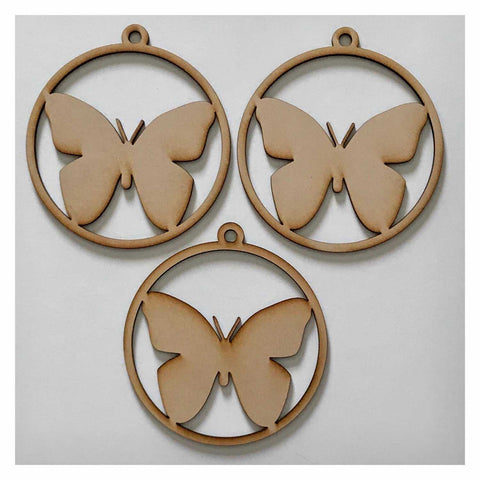 Butterfly Hanging Decoration Set of 3 Plain DIY Raw MDF Timber Art - The Renmy Store