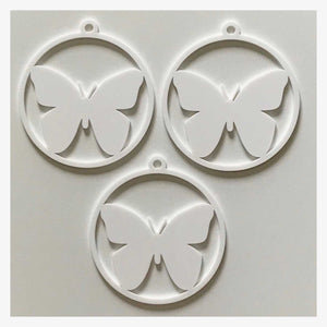 Butterfly Decoration Hanging Set Of 3 White Plastic Acrylic Country Decor Garden - The Renmy Store