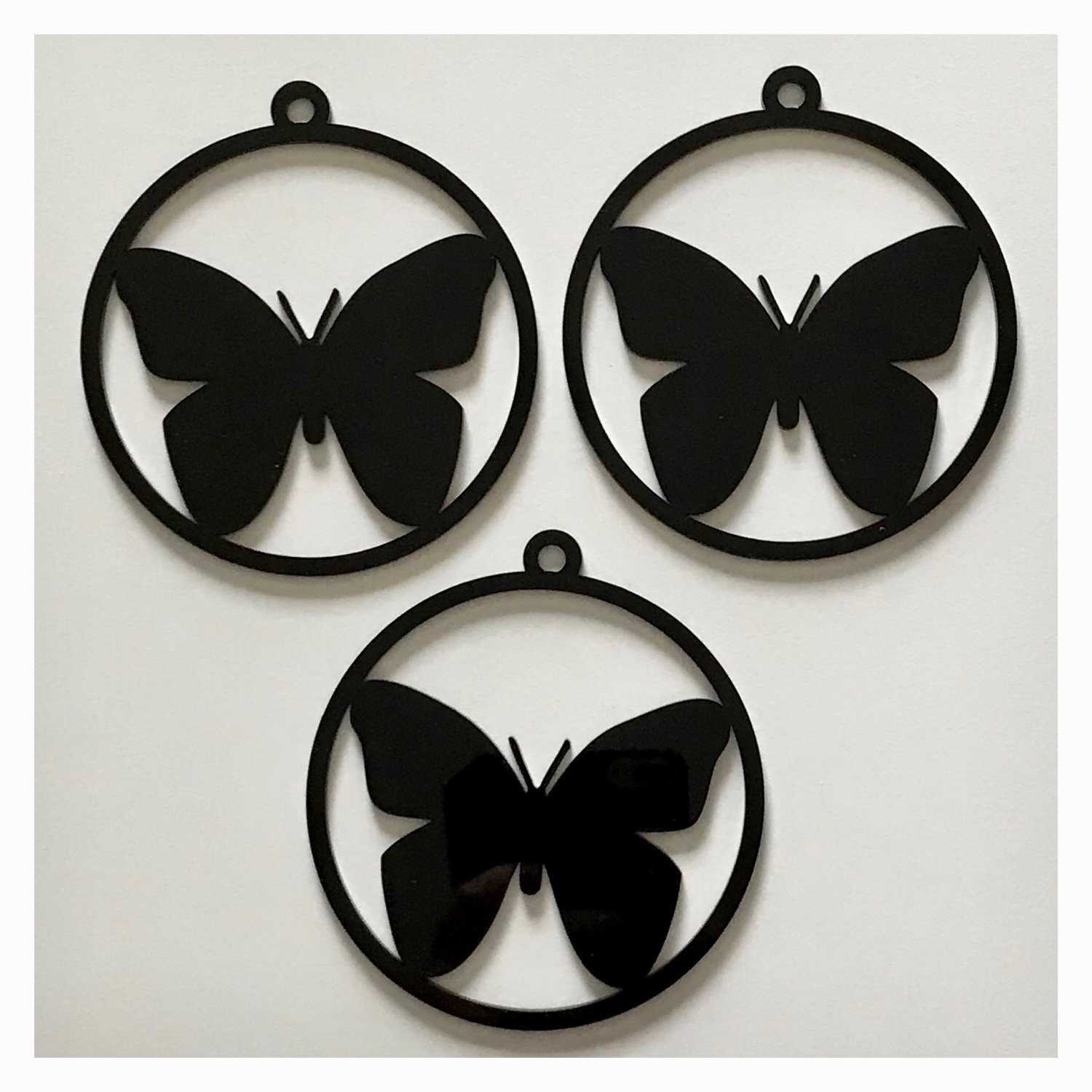 Butterfly Decoration Hanging Set Of 3 Black Plastic Acrylic Country Decor Garden - The Renmy Store