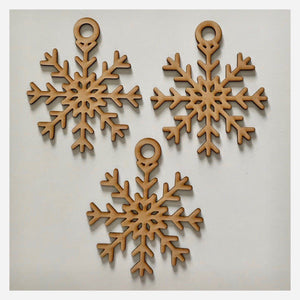 Snowflake Star Christmas Hanging Decoration Set of 3 Plain DIY Raw MDF Timber