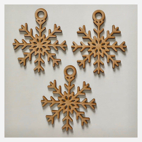 Snowflake Star Christmas Hanging Decoration Set of 3 Plain DIY Raw MDF Timber - The Renmy Store