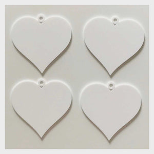 Heart Love Wedding Xmas Party Decoration Hanging Set Of 3 White Plastic Acrylic Country Decor Garden