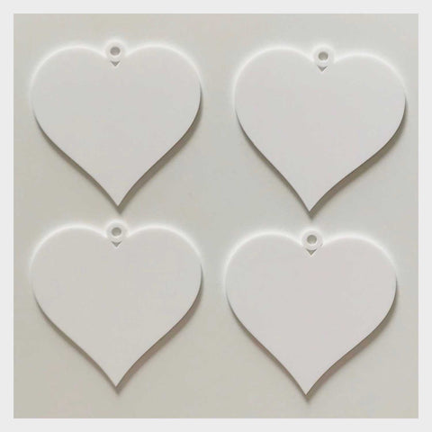 Heart Love Wedding Xmas Party Decoration Hanging Set Of 3 White Plastic Acrylic Country Decor Garden - The Renmy Store