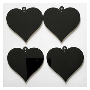 Heart Love Wedding Xmas Party Decoration Hanging Set Of 3 Black Plastic Acrylic Country Decor Garden - The Renmy Store