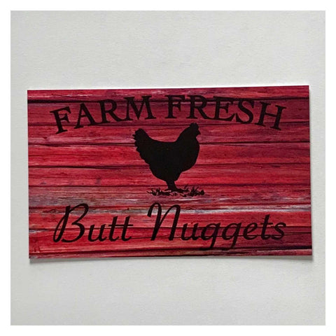 Farm Fresh Butt Nuggets Egg Red Sign Wall Plaque or Hanging - The Renmy Store