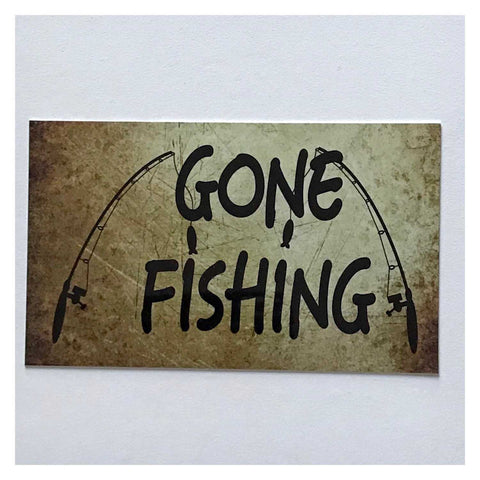 Gone Fishing Vintage Style Sign Room Rustic Wall Plaque or Hanging - The Renmy Store