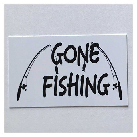 Gone Fishing White Sign Wall Plaque or Hanging - The Renmy Store