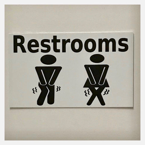 Restrooms Restroom Male Female Busting Toilet White Sign Plaque or Hanging - The Renmy Store