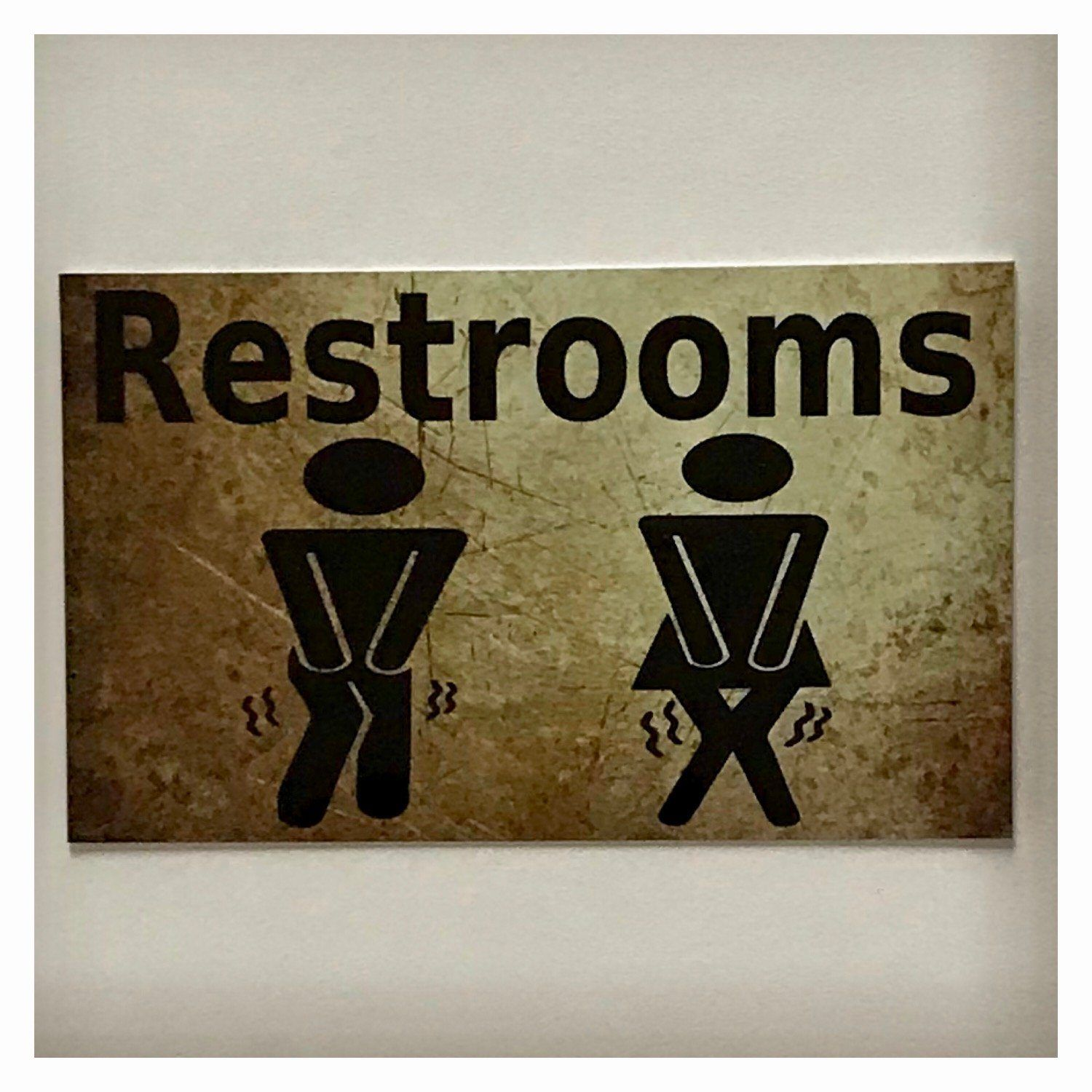 Restrooms Restroom Male Female Busting Toilet Vintage Sign Plaque or Hanging - The Renmy Store