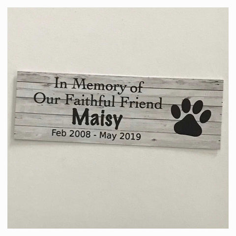Custom Pet RIP Memorial Name and Year Dog Cat Sign White Wash Wall Plaque or Hanging - The Renmy Store