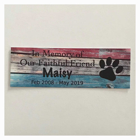 Custom Pet RIP Memorial Name and Year Dog Cat Sign Rustic Blue and Red Wall Plaque or Hanging - The Renmy Store