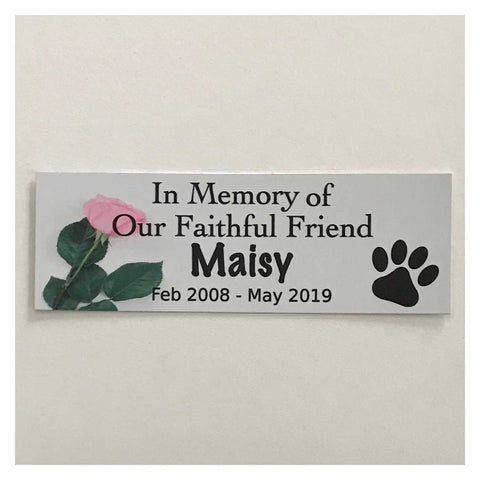 Custom Pet RIP Memorial Name and Year Dog Cat Sign White with Rose Plaques & Signs The Renmy Store