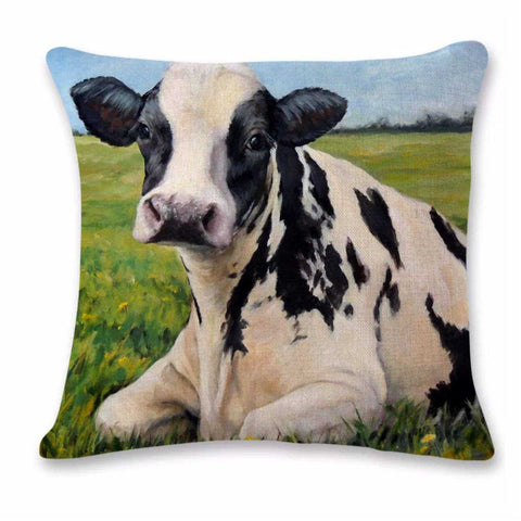 Cushion Pillow Cow Black & White Relaxed Farmhouse - The Renmy Store