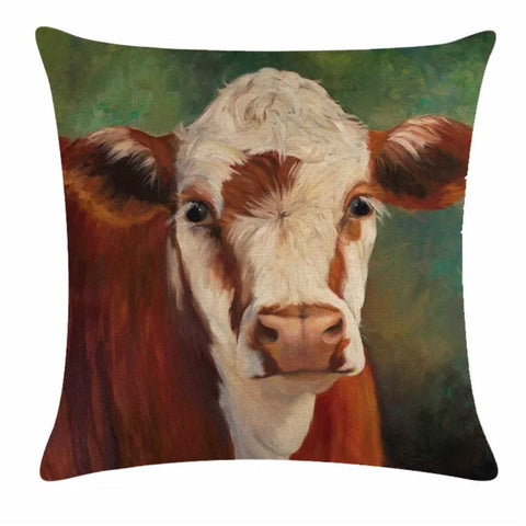 Cushion Pillow Cow Brown & White Green Farmhouse - The Renmy Store