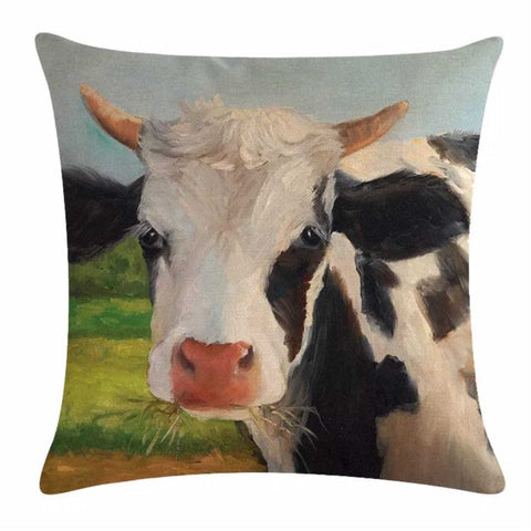 Cushion Pillow Cow Black & White Horns Farmhouse - The Renmy Store