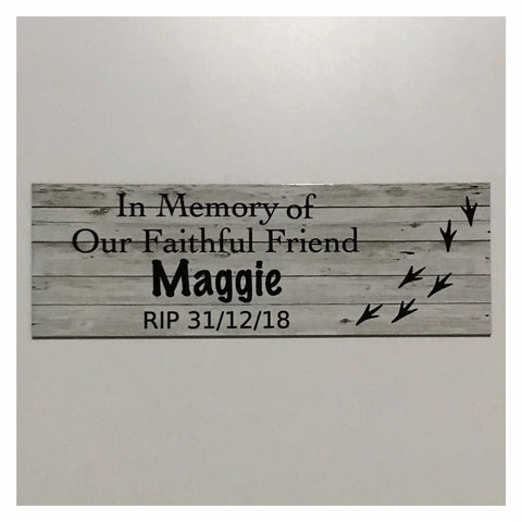 Custom Pet RIP Memorial Name and Year Bird Sign White Wash Wall Plaque or Hanging Plaques & Signs The Renmy Store