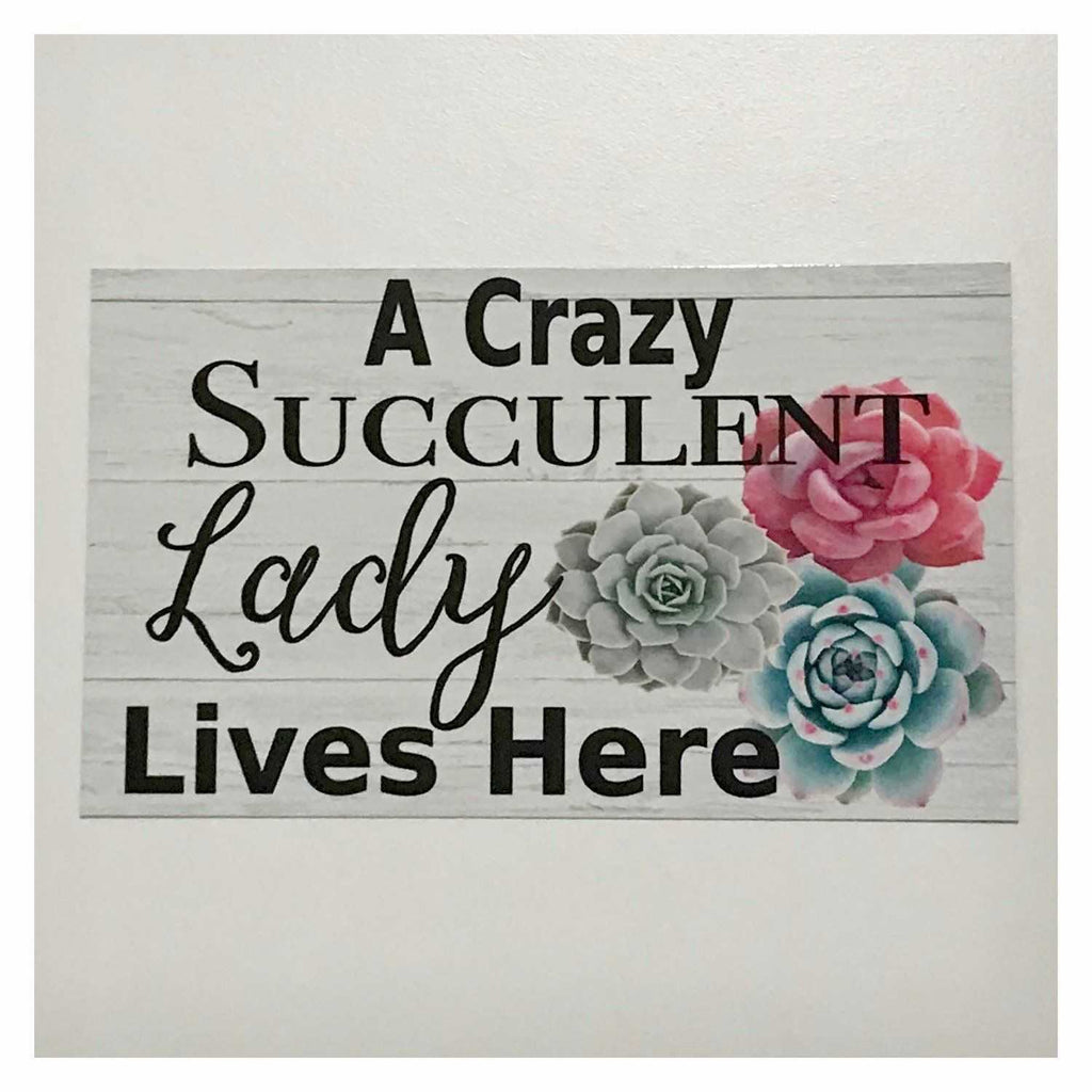 A Crazy Succulent Lady Lives Here Sign Wall Plaque or Hanging - The Renmy Store