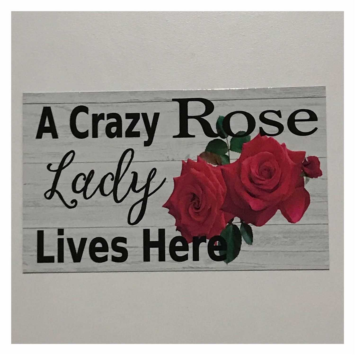 A Crazy Rose Lady Lives Here Sign | The Renmy Store