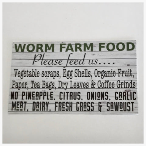 Worm Farm Food Sign Plaque Or Hanging - The Renmy Store
