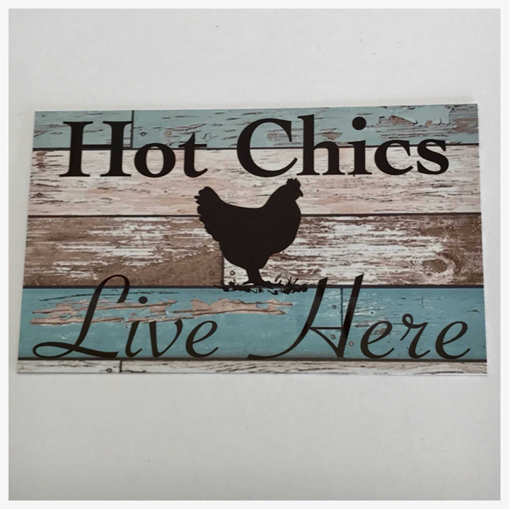Chicken Hot Chics Live Here Blue Sign Plaque Or Hanging - The Renmy Store
