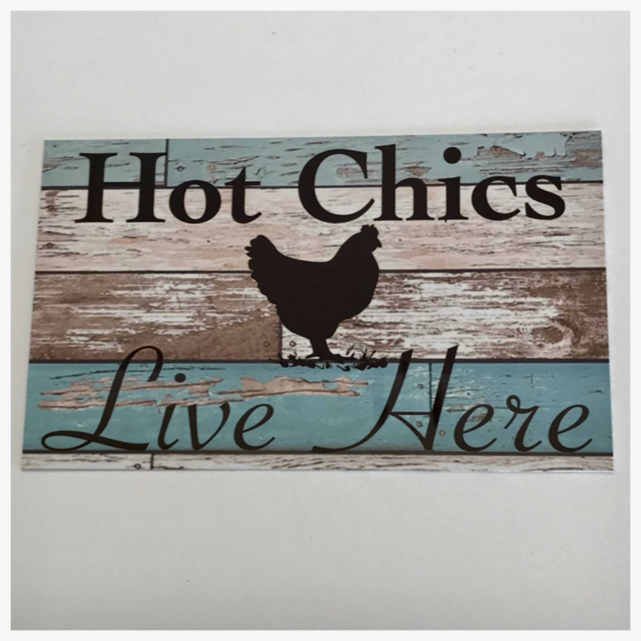Chicken Hot Chics Live Here Blue Sign