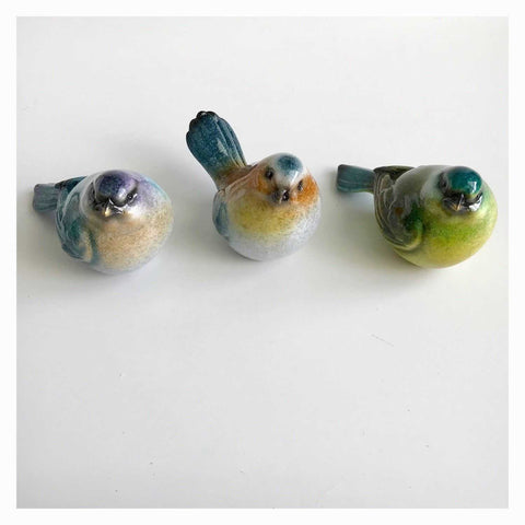 Bird Birds Set A Of 3 Colourful Resin 10cm - The Renmy Store