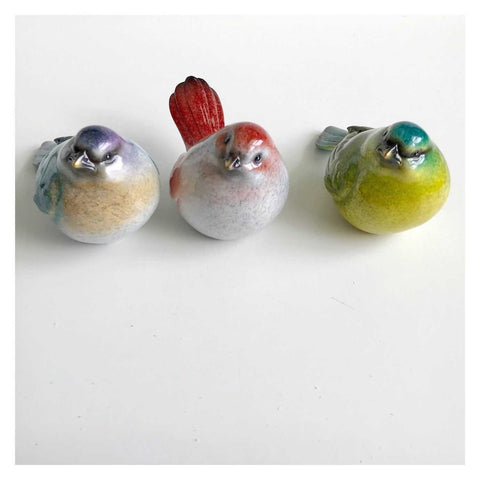 Bird Birds Set C Of 3 Colourful Resin 10cm - The Renmy Store