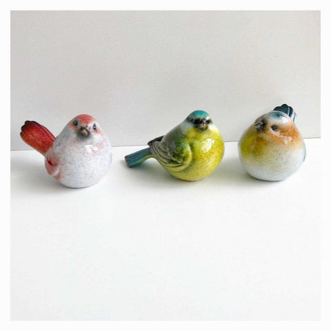 Bird Birds Set F Of 3 Colourful Resin 10cm - The Renmy Store