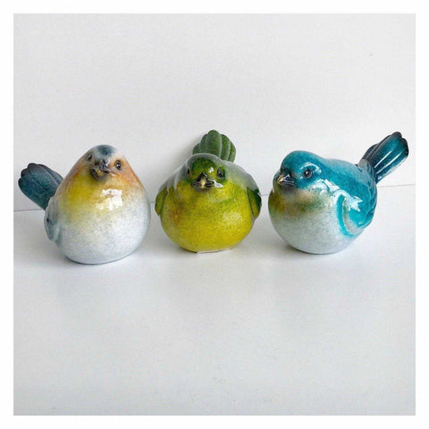 Bird Birds Set H Of 3 Colourful Resin 10cm - The Renmy Store