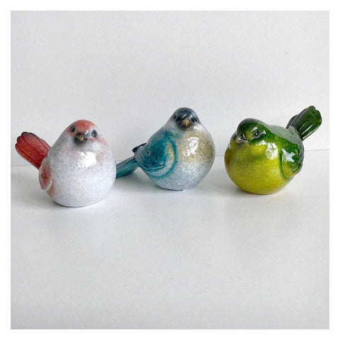 Bird Birds Set I Of 3 Colourful Resin 10cm - The Renmy Store