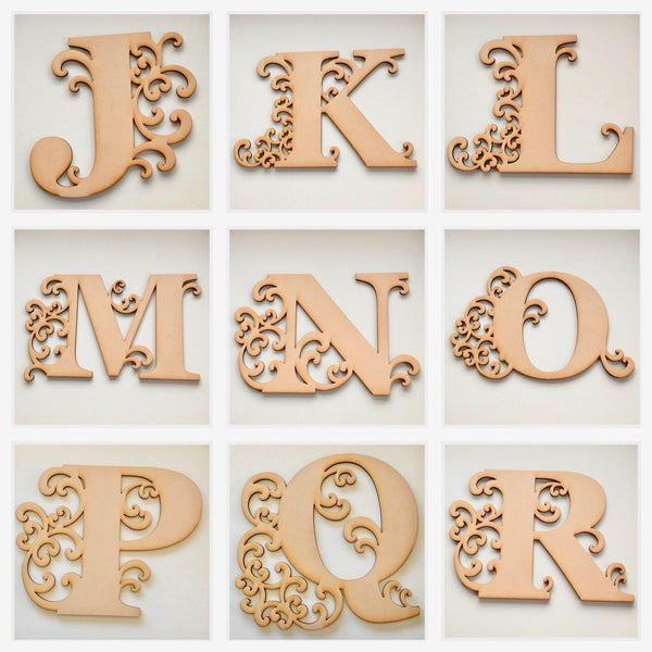 Set of 3 Decorative Letters Alphabet MDF Wooden