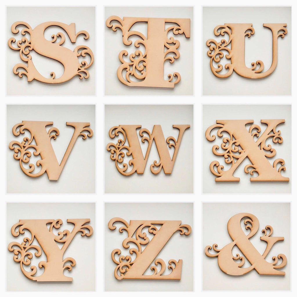 ... Letter Decorative Large Scroll Letters Alphabet - You Choose - MDF Raw Timber Wall Art ...