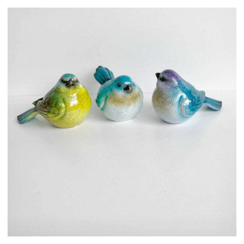 Bird Birds Set J Of 3 Colourful Resin 10cm - The Renmy Store