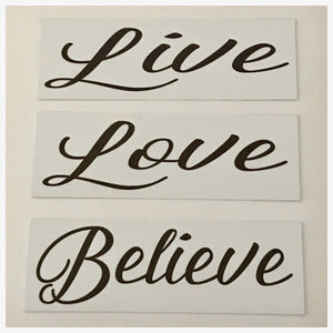 Live Love Believe Set of 3 White Sign Wall Plaque or Hanging - The Renmy Store