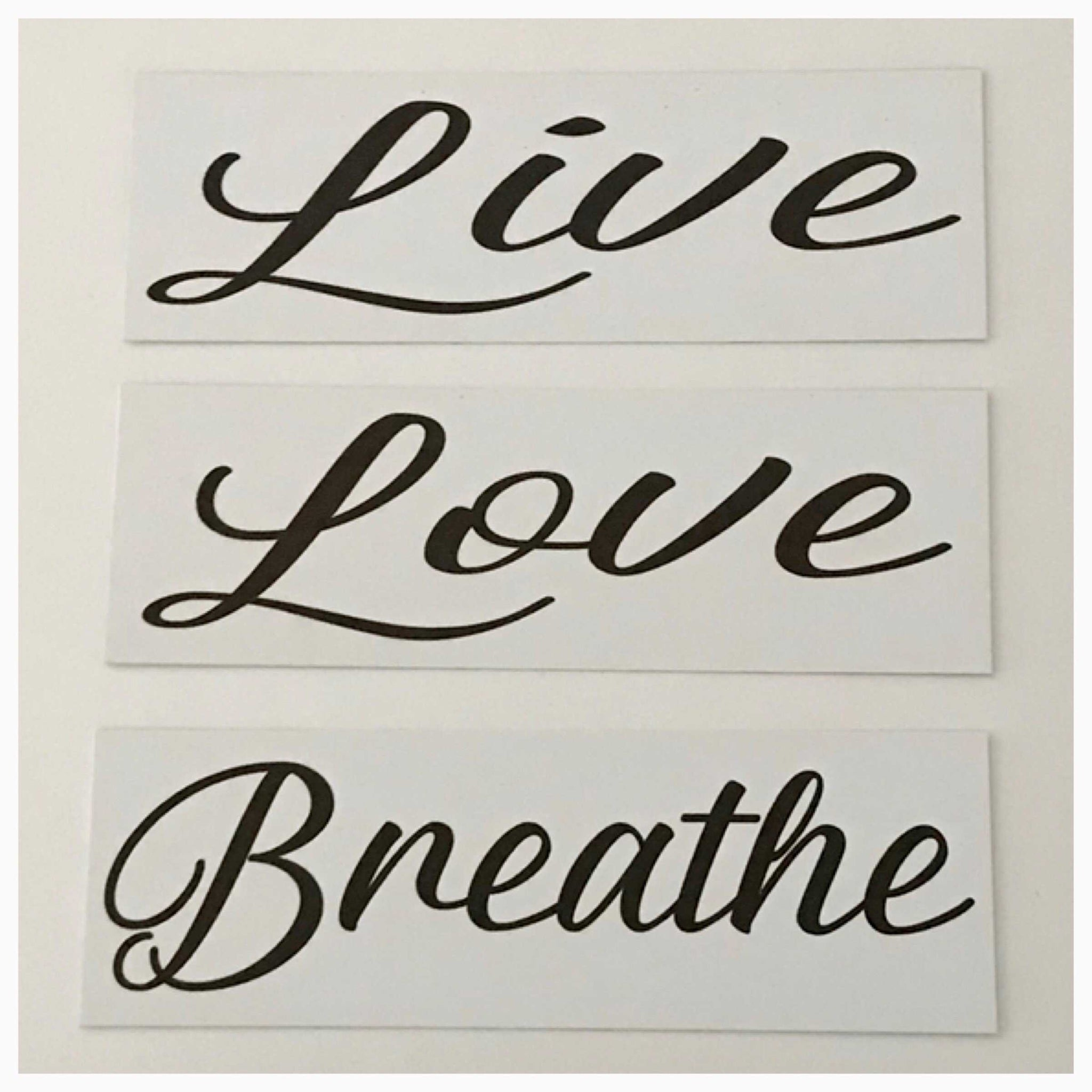 Live Love Breathe Set of 3 White Sign