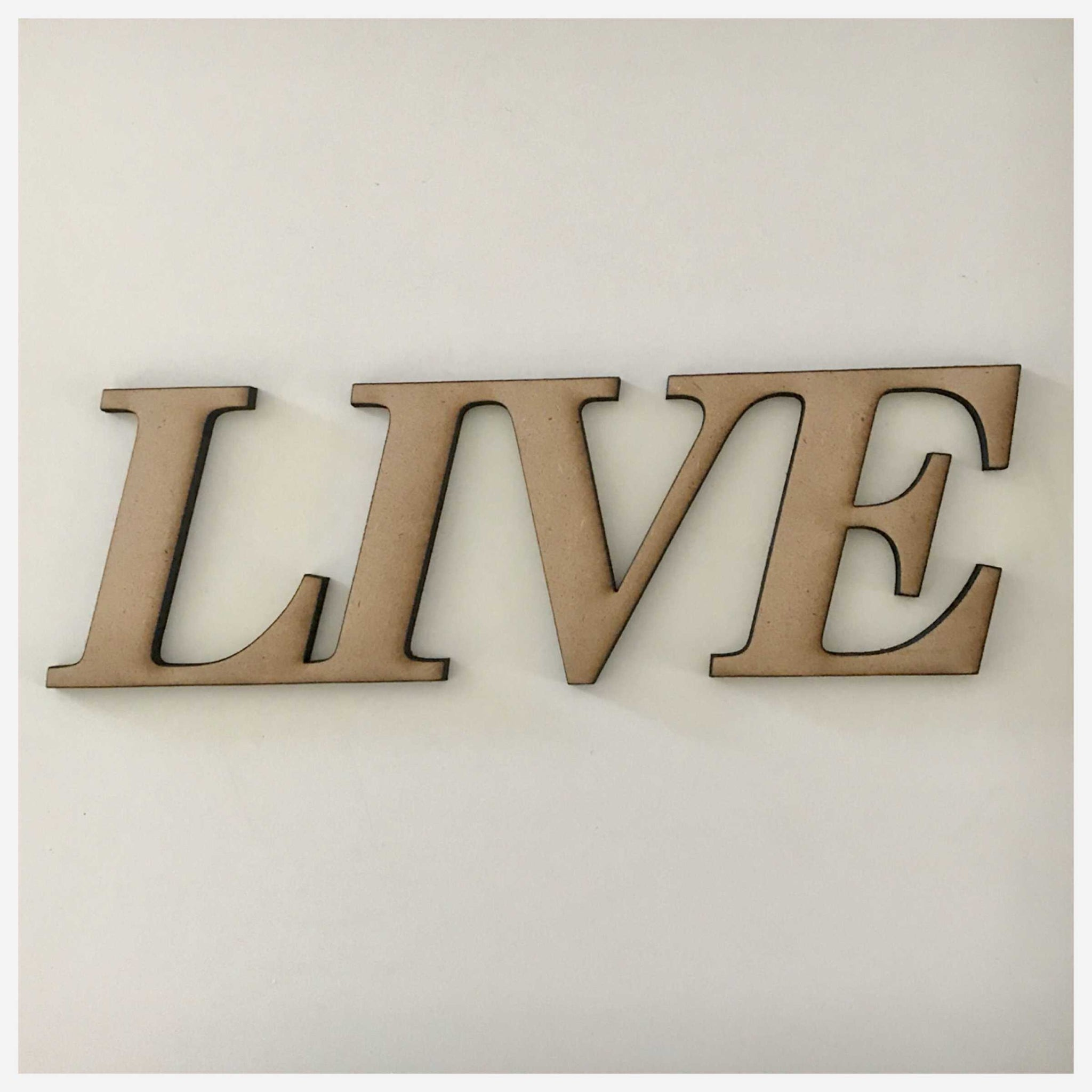 Live MDF Shape Word Raw Wooden Wall Art