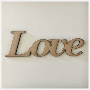 Love MDF Shape Word Raw Wooden Other Home Décor The Renmy Store