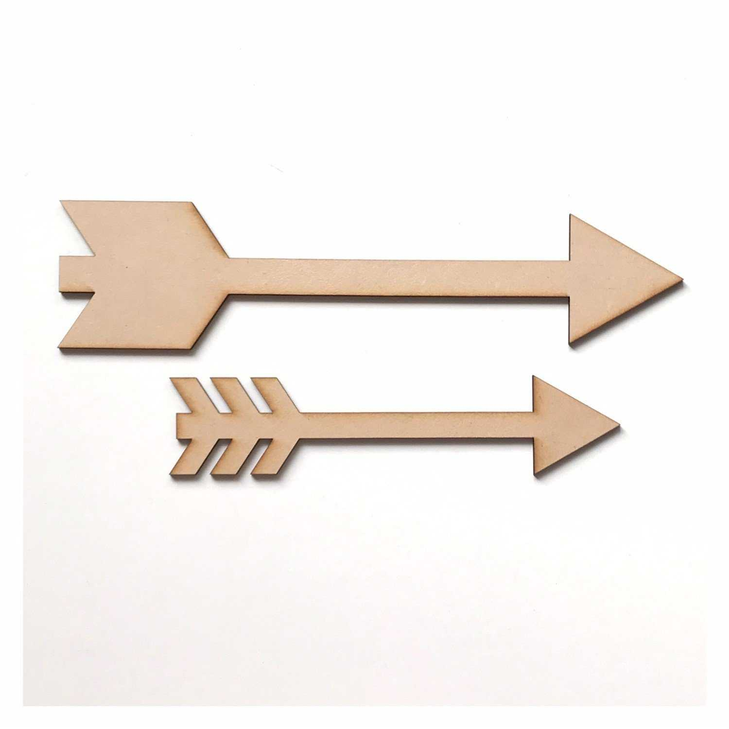 Arrows Arrow Set of 2 Sign MDF Wooden Word Shape Raw