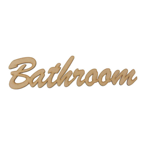 Bathroom Word Sign MDF DIY Wooden | The Renmy Store