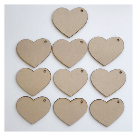 Tag Tags Heart Love Set of 10 Raw MDF Wooden DIY Craft