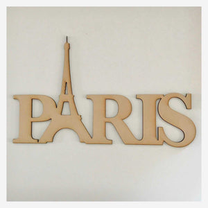 Paris Word Eiffel Tower French Plain DIY Raw MDF Timber - The Renmy Store