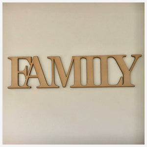 Family MDF Shape Word Raw Wooden Wall Art - The Renmy Store