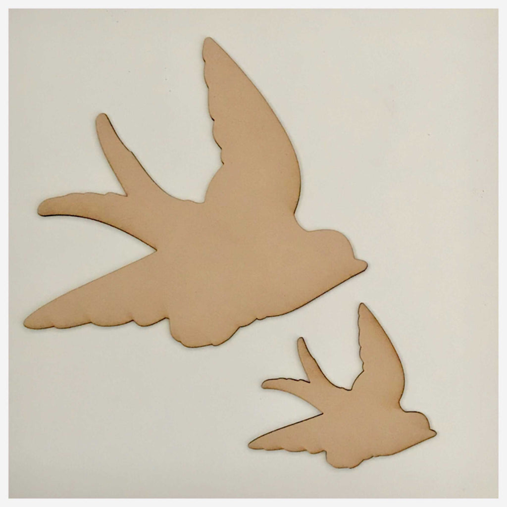 Bird Set of 2 Flying Birds MDF Shape DIY Raw Cut Out Art Craft Decor - The Renmy Store